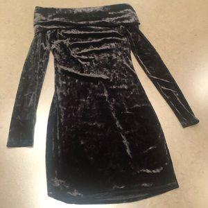 Crushed velvet off the shoulder dress